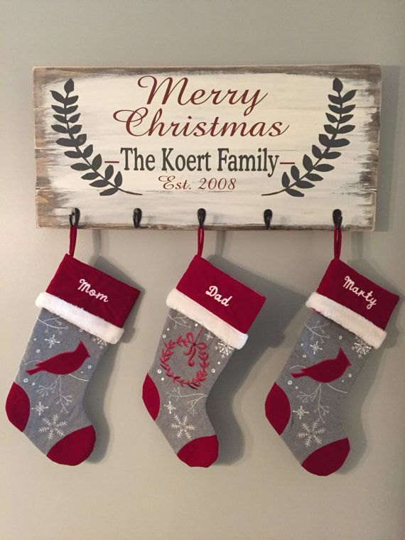 Personalized Christmas Stocking Holder / Merry Christmas Stocking