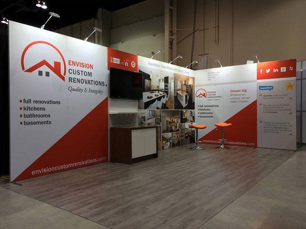 Portable Exhibition Flooring : Sleek corner booth l shaped modular trade show