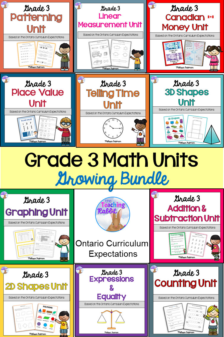 small resolution of This Grade 3 Math Bundle is based on the Ontario Curriculum and includes:  Counting