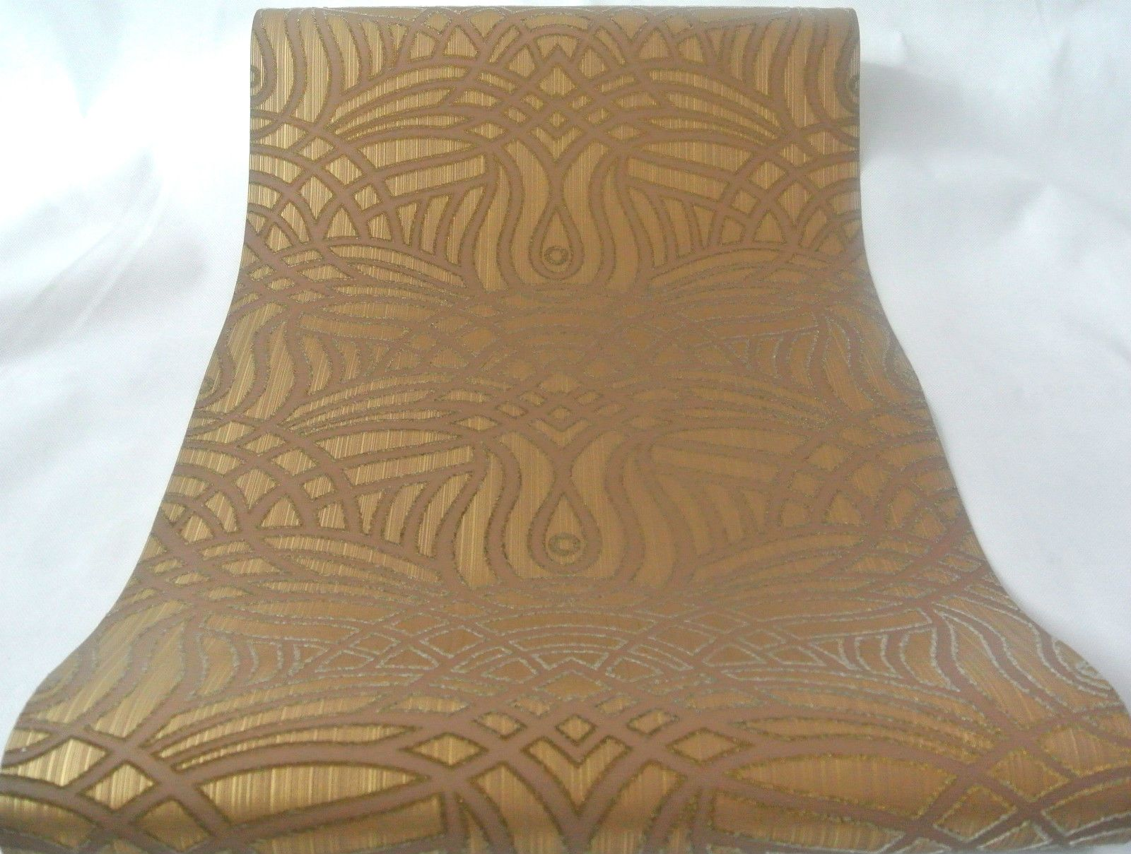 Exclusice Edel Tapete Wand Vliestapete Braun Gold Schimmernd