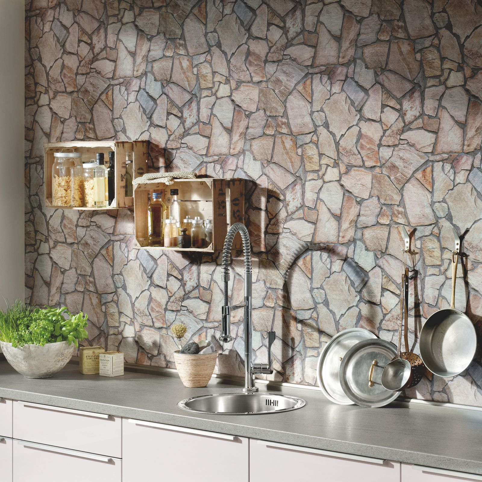 Why It S A Good Idea To Use Wallpaper In The Kitchen According To This Interior Designer Stone Wallpaper Brick Effect Wallpaper Wood Stone