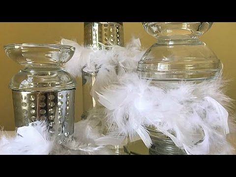 Dollar Tree Diy Candle Holder Designs Feather Boa Table Decorations Wedding Ideas