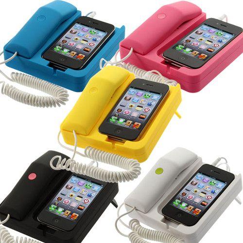 Home Office Desk Telephone Retro Phone Corded Handset Speaker For iPhone 4 3G | eBay