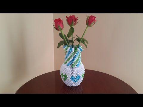 3d Origami Flower Vase Easy Step Youtube 3d Modular Origami