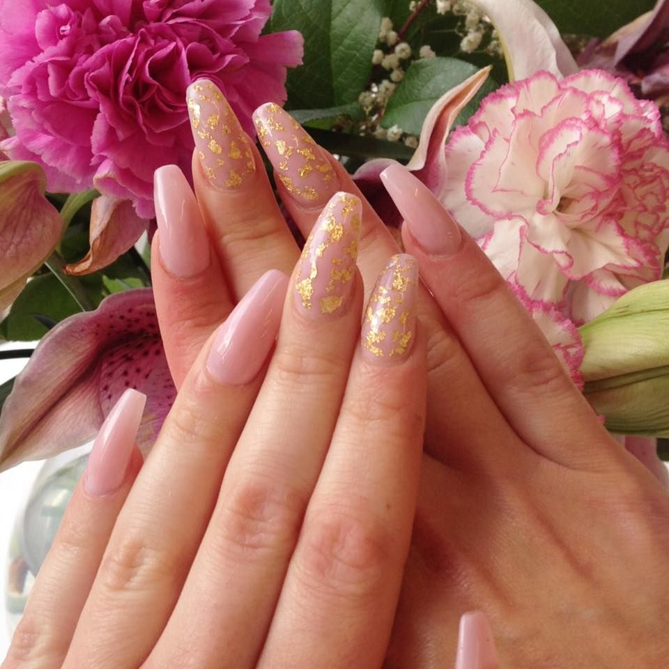 Natural Pink Gold Leaf Coffin Acrylic Nails Gold Acrylic Nails Gold Nails Acrylic Nails Coffin