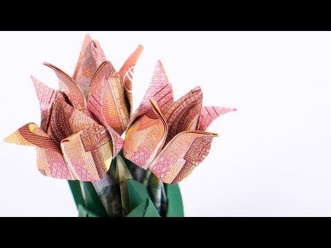 geld falten hi blumen tulpen blumentopf aus geldscheinen basteln youtube geldschein zu. Black Bedroom Furniture Sets. Home Design Ideas