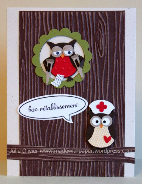 "Julie Olivier: Made with Paper - ""Owl Punch Get well Card - 2/22/14.  (Pin#1: Health... Pin+: Punch Art: Animals...; Owls...)"