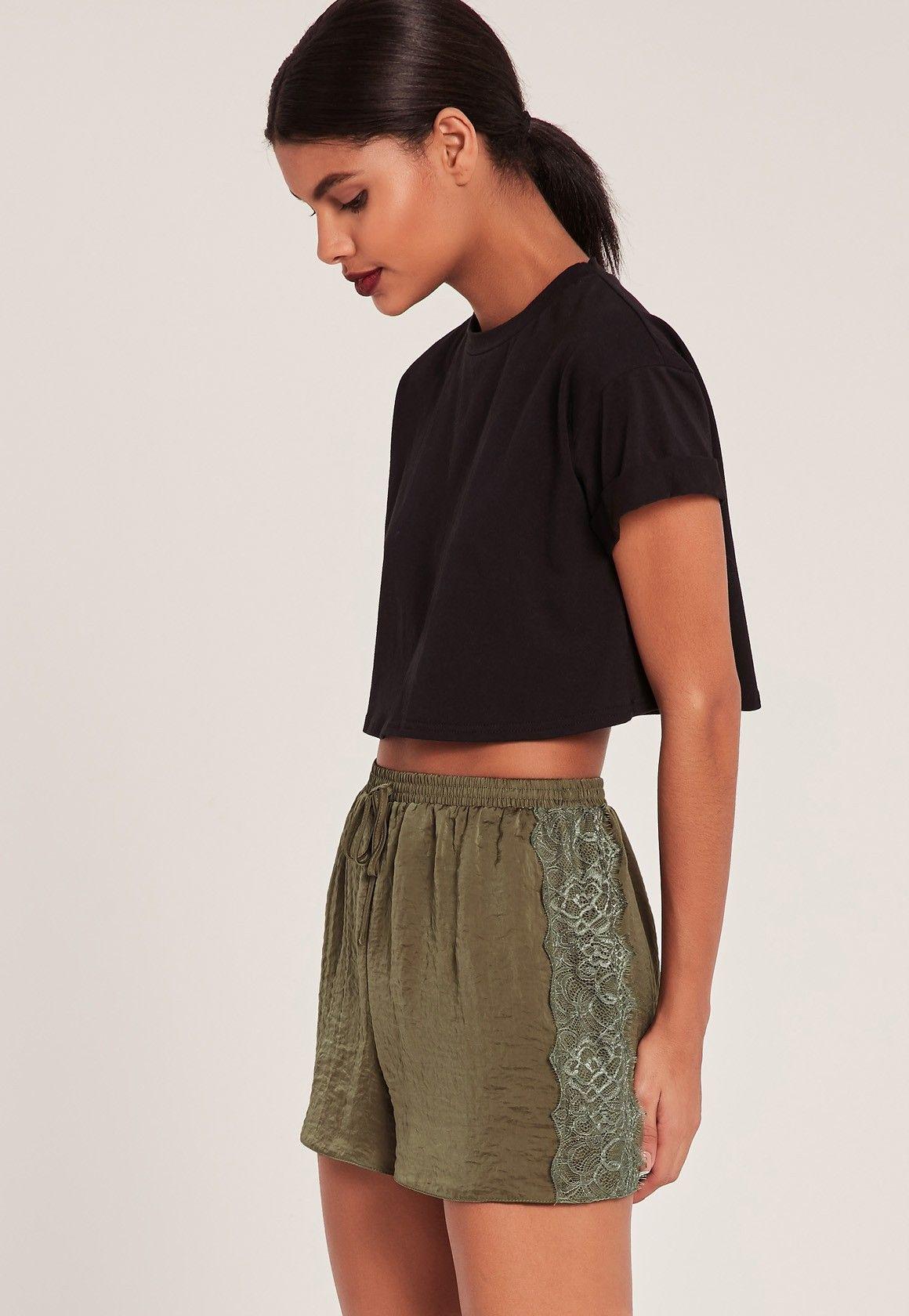 Missguided - Khaki Lace Hem Hammered Satin Shorts | CASUAL SHORTS ...