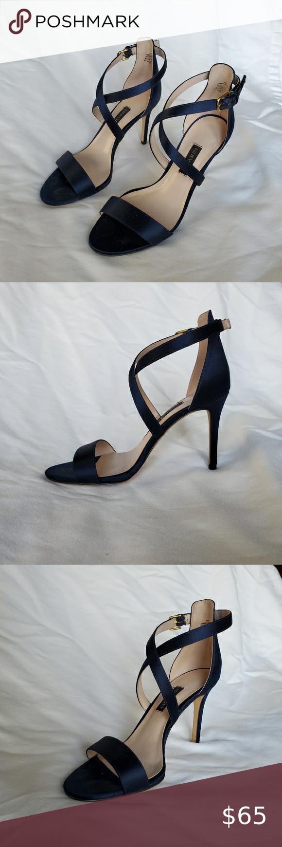 Nine West Navy Blue Sandal Stilletos in