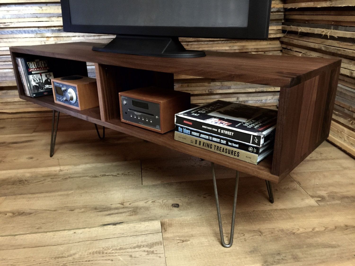 Popular items for mid century console on etsy mid century modern mid century modern tv tableentertainment console black walnut with hairpin legs geotapseo Image collections