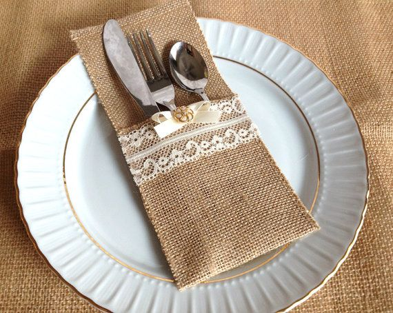 Burlap And Lace Rustic Silverware Holder Wedding Bridal Shower