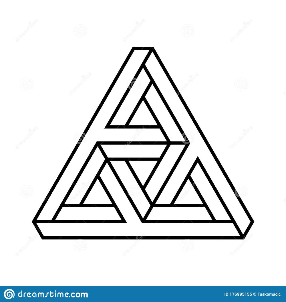 Impossible Triangle Shape Optical Illusion Paradox Outline Of Endless Geometric Triangular Object Impossible Triangle Optical Illusions Graph Paper Designs