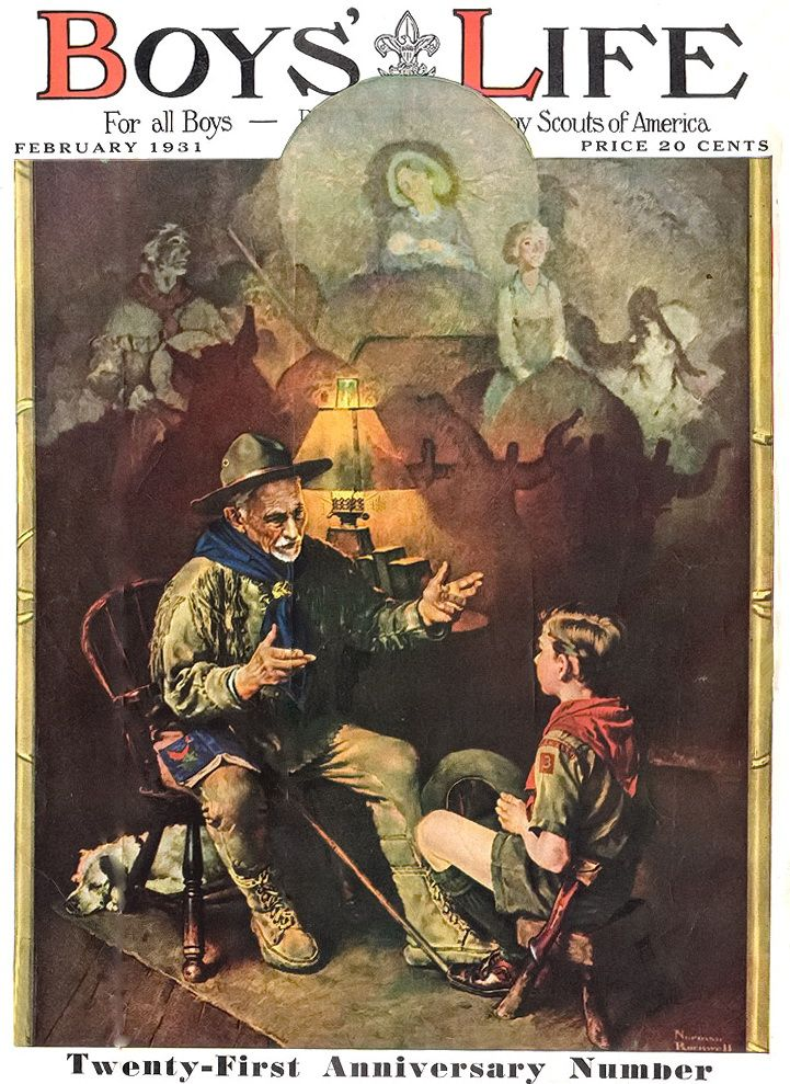 Boys' Life - February 1931 Issue - Norman Rockwell - 'Stories from the pioneer times'