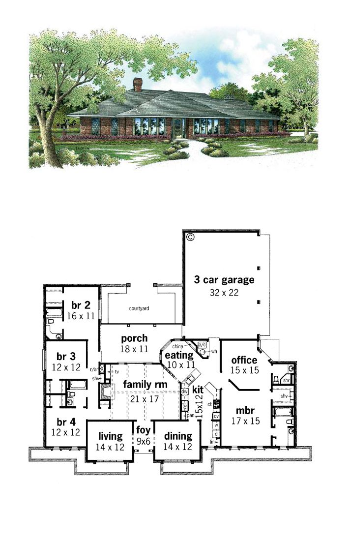 Southwest Style House Plan 65606 With 4 Bed 4 Bath 3 Car Garage House Plans Prairie House Southwest Style