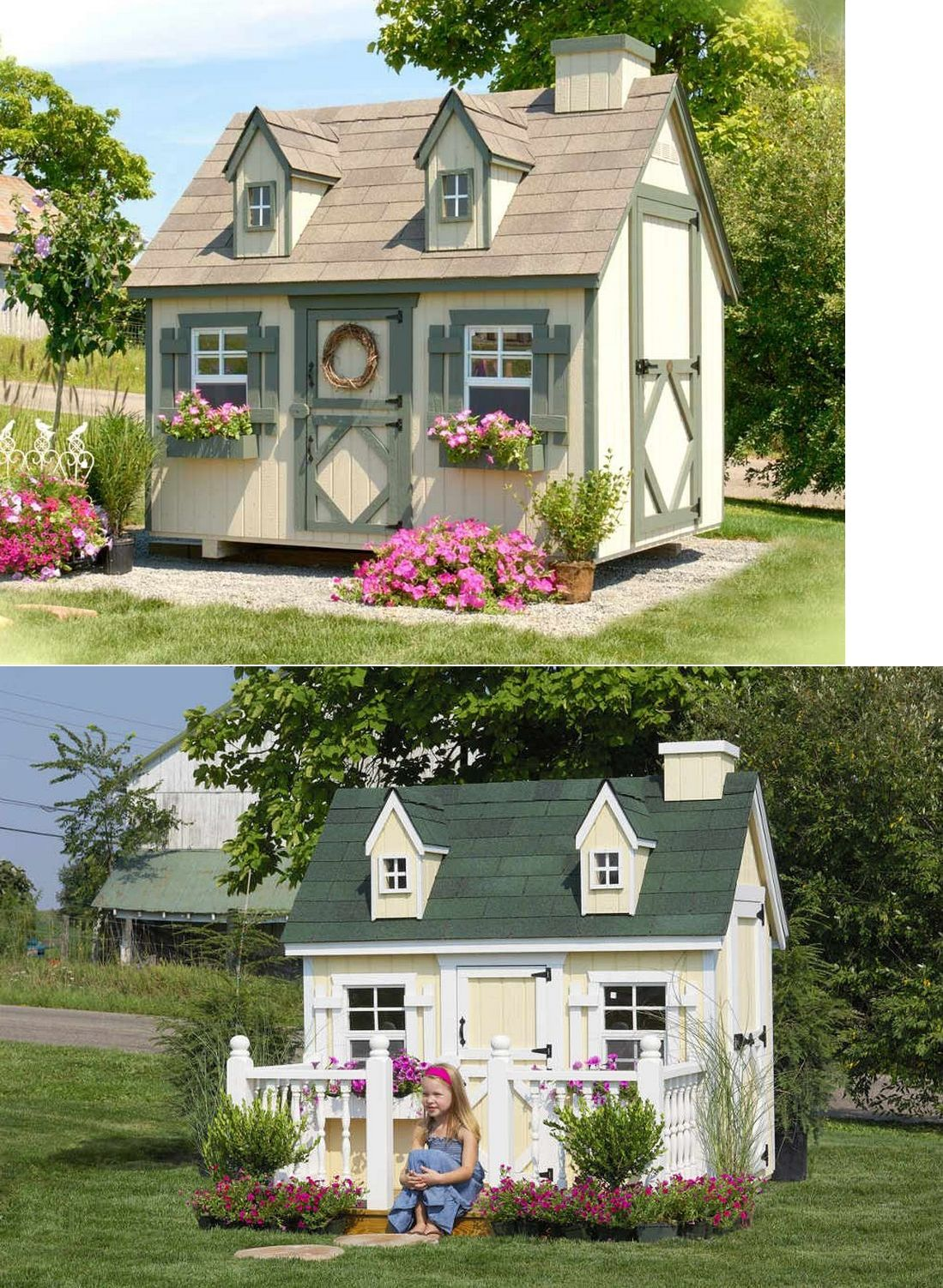 Cape Cod Playhouse Part - 24: Permanent Playhouses 145995: Little Cottage Company 8X8 Cape Cod Playhouse  [8X8 Ccp-Wpnk