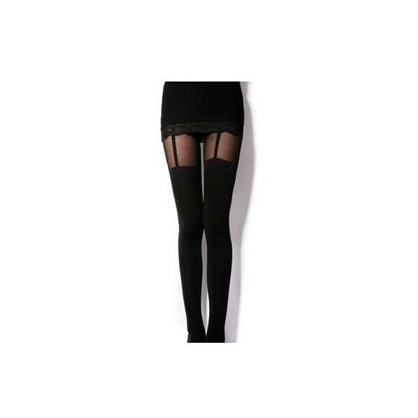 FallFor Garter Tights (€8,84) ❤ liked on Polyvore featuring intimates, hosiery, tights, pants, bottoms, leggings and garter tights