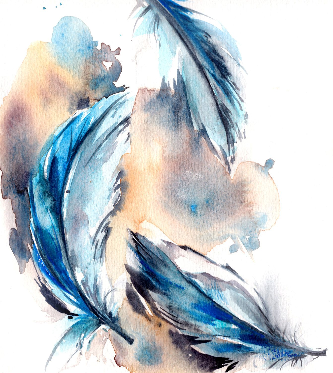 Feather Painting Original Watercolor Painting Blue Feathers
