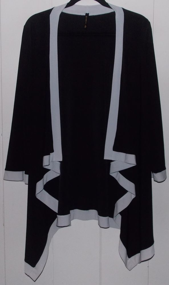 4743220dfab95b IC by CONNIE K LONG SLEEVE OPEN FRONT TUNIC BLOUSE TOP in BLACK and WHITE  size