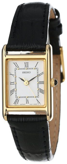 Seiko Women's Gold-Tone and Black Leather Strap Watch Product Description  This classic Seiko Ladies' watch features a black leather strap with buckle