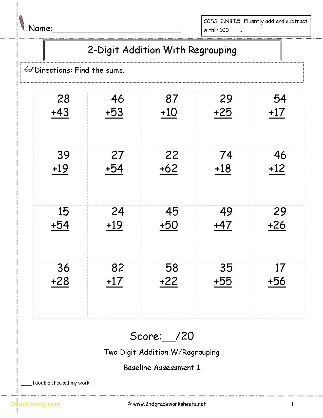 Formal 2 Digit Addition Without Regrouping Worksheets In