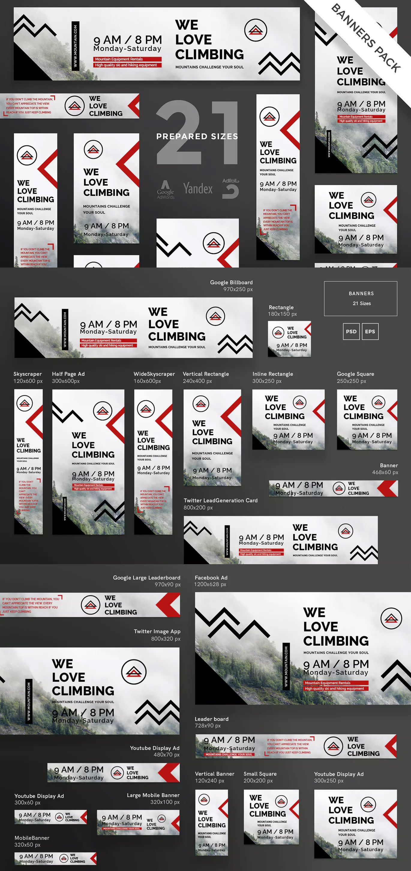 Mountain Tours Banner Pack Template EPS, PSD Big set of