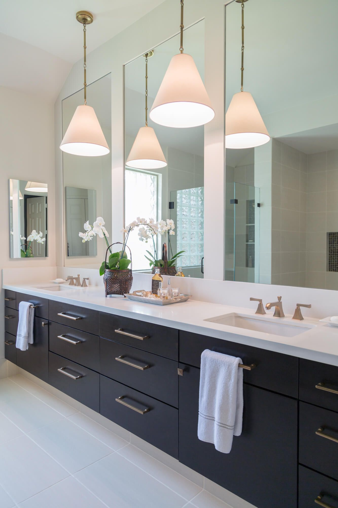 Floating Linear Look Bathroom Vanity In An Espresso Stain Gives An Open And More Modern Bathroom Vanity Designs Modern Bathroom Remodel Master Bathroom Design [ 2000 x 1333 Pixel ]