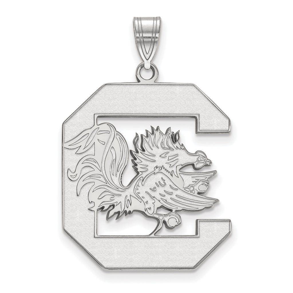 925 Sterling Silver Rhodium-plated Laser-cut University of South Carolina XL Pendant. 100% Satisfaction Guaranteed. 30 Day Money Back Guarantee. Upto 60% Off Retail. Collegiate Jewelry Collection. University of South Carolina Jewelry.