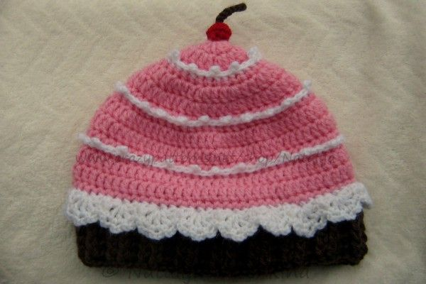 d81a2c2b2fe Cupcake Hat with a Cherry Crochet Pattern