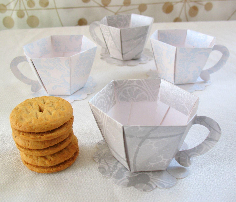 tea party favors | Damask Tea Cup Party Favor Boxes Set of 4 by ...