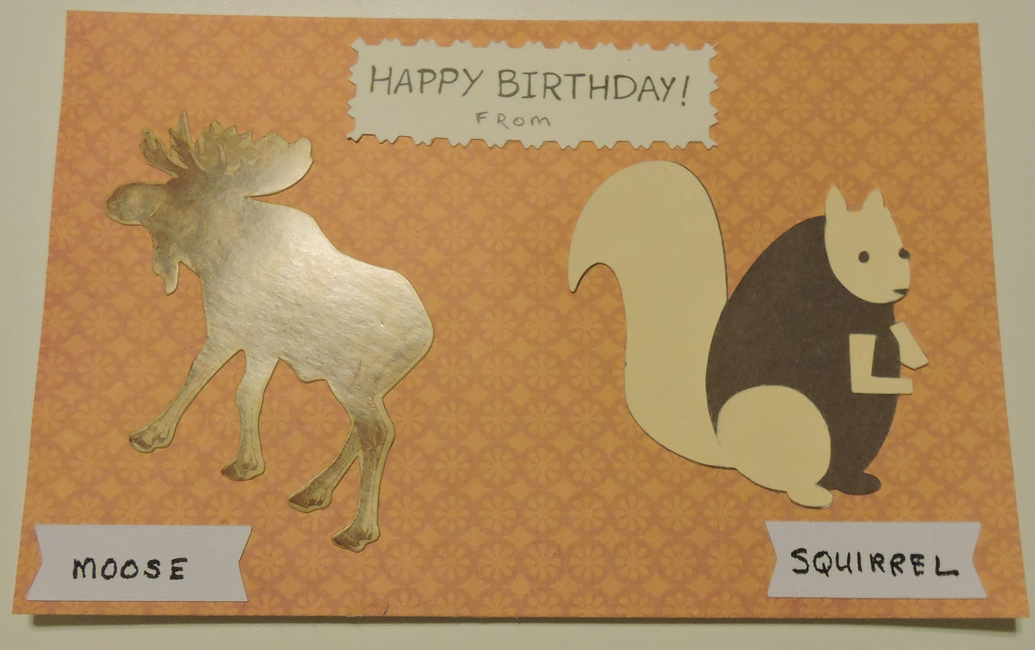 Funny Punnish Birthday Card Squirrel Silhouette Cameo Cutout Moose Embellishment Cards Squirrel Silhouette Birthday Cards