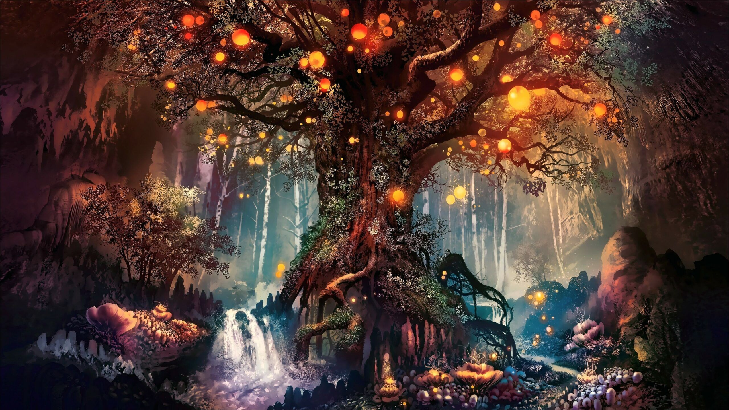 4k 16 9 Wallpaper In 2020 Fantasy Artwork Tree Art Artwork