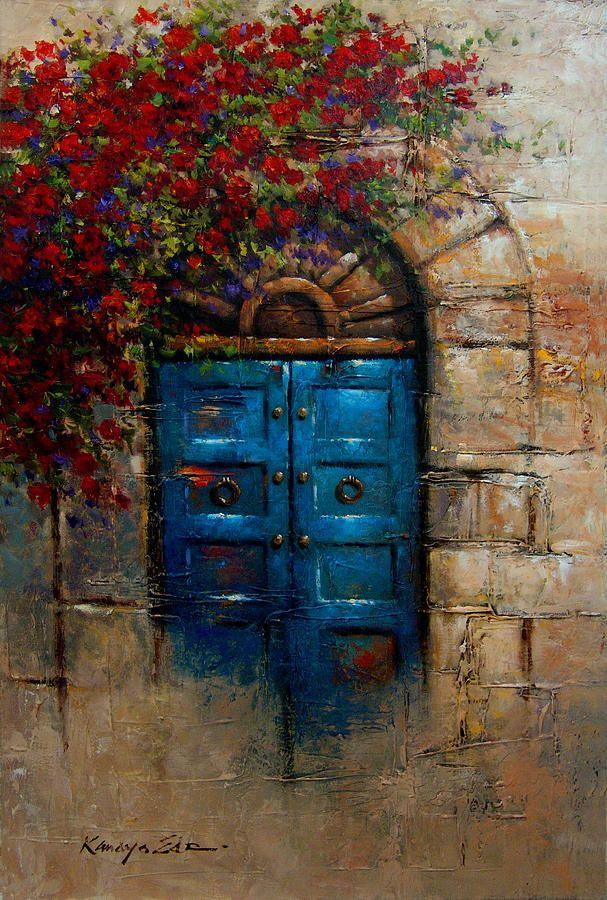 Blue Door Italian Door With Rose Bush From Tuscany Print By Kanayo Ede Window Painting Painting Italian Doors