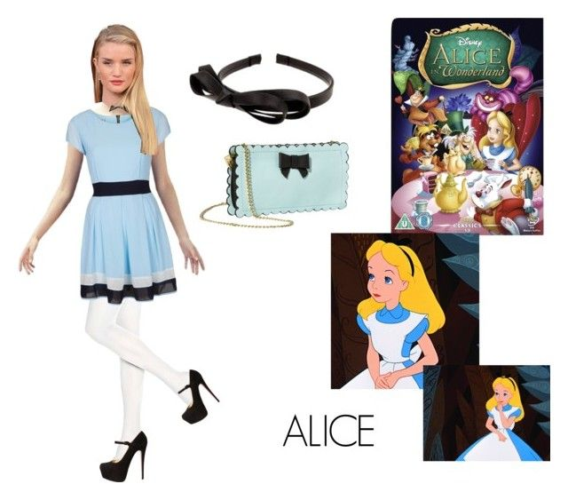 """Alice"" by andyarana ❤ liked on Polyvore featuring Hue, Betsey Johnson, L. Erickson, Christian Louboutin, WalG and Disney"