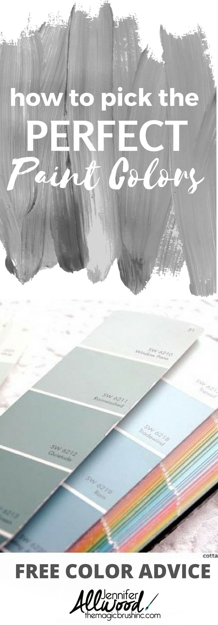How to pick the perfect paint colors for your walls. Free color advice from professional painter Jennifer Allwood of theMagicBrushinc.com. How to pick the perfect wall color every time!