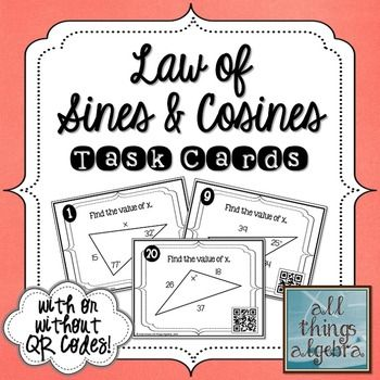 Law Of Sines And Law Of Cosines Task Cards Geometry Pinterest