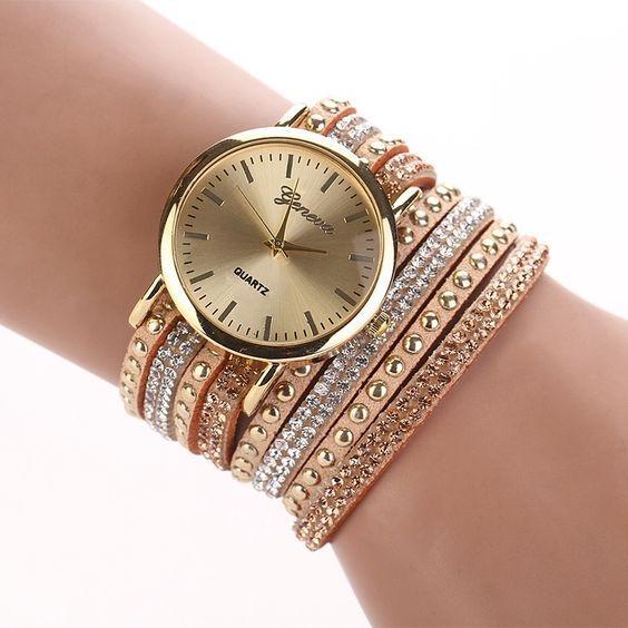 3fb77dda66c (21) Aliexpress.com  Compre 2015 nova moda feminina vestido relógios de  pulso moda Casual senhoras pulseira de quartzo relógios pulseira de couro  relógi…