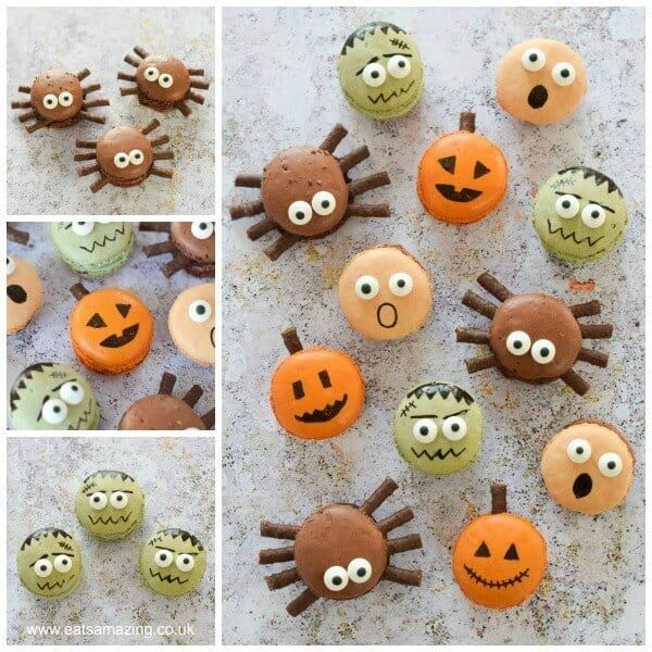 4 Fun and Easy Halloween Macarons #halloweenmacarons Cute Halloween Macarons - perfect fun food dessert for Halloween party food - with pumpkin spider frankenstein and screaming macaron designs #halloweenmacarons