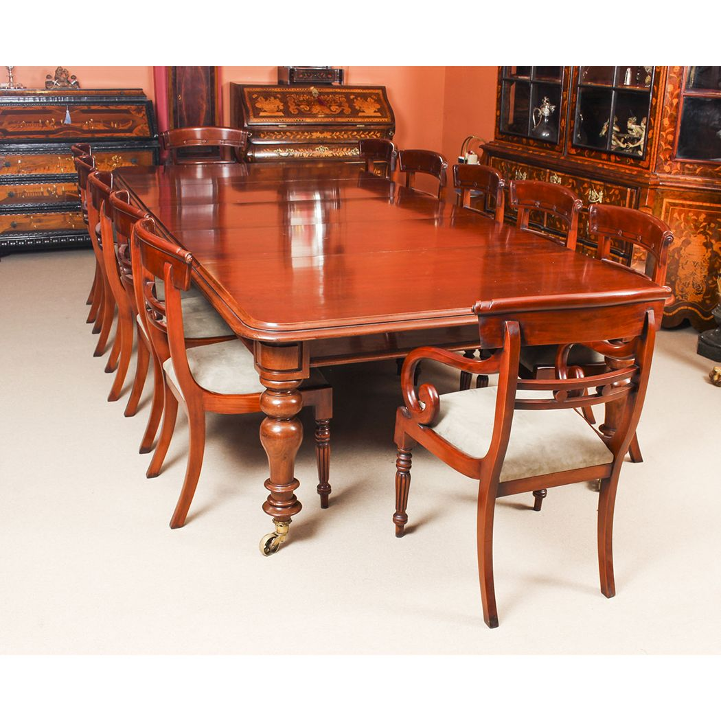 Antique William Iv Mahogany Dining Table 19th C 12 Bar Back