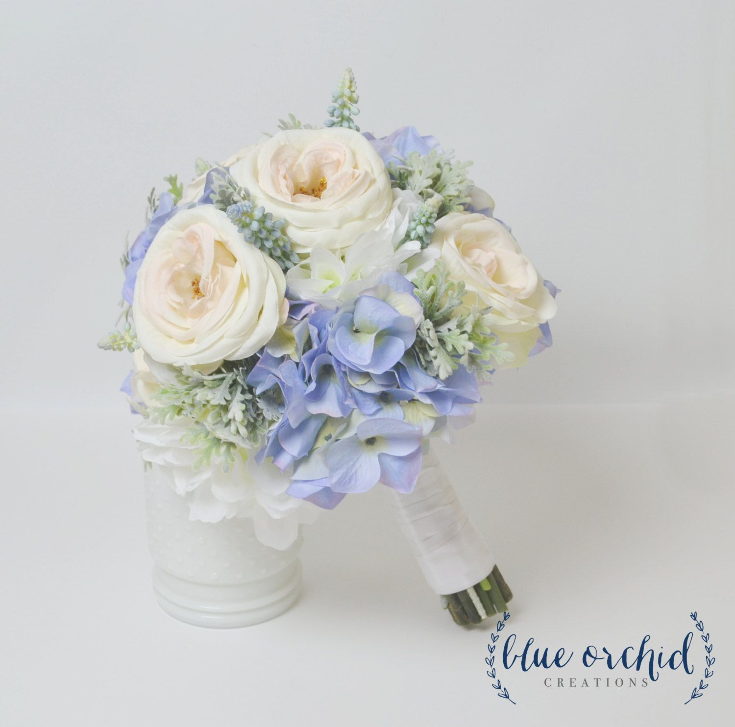 blue hydrangea bouquet with blush garden roses and dusty miller blue bouquet blue and