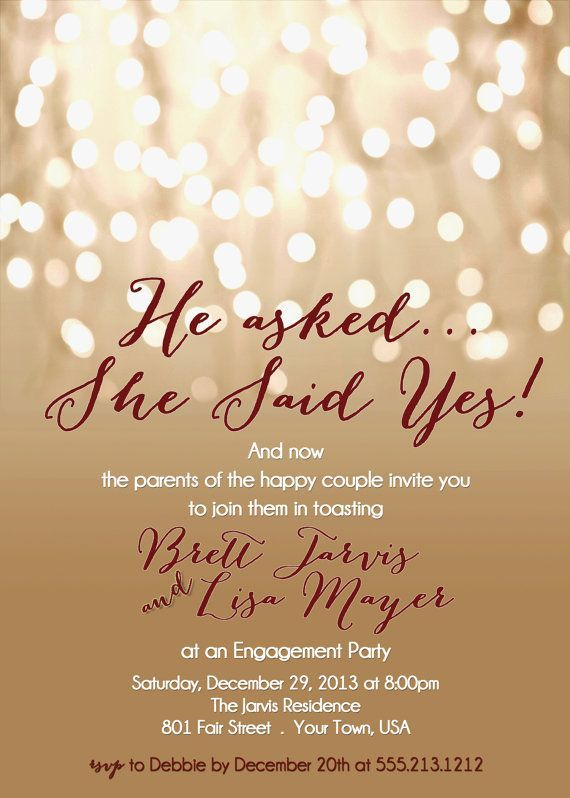 2) Engagement Party Invitation - Printable DIY Invite - Choose - engagement invitation words