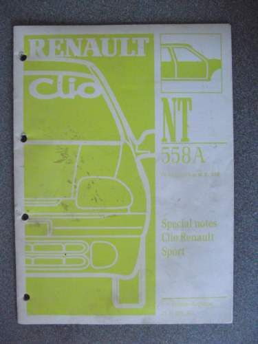 Renault Clio Special Notes Manual 2000 Nt558a 7711296302