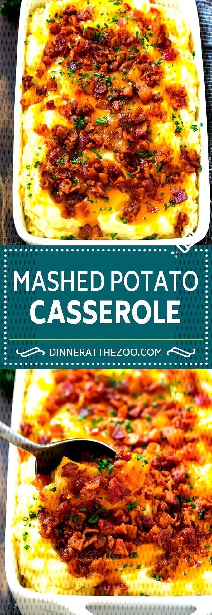 Loaded Mashed Potato Casserole Recipe   Loaded Potatoes   Bacon Mashed Potatoes   Thanksgiving Mash