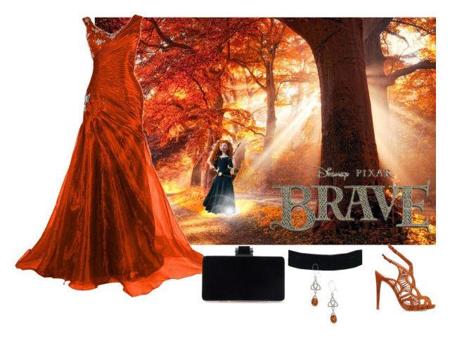 """The Royal Harvest Ball"" by susan0219 ❤ liked on Polyvore featuring Disney, Alexandre Birman, Merida, disney, autumn, merida and brave"