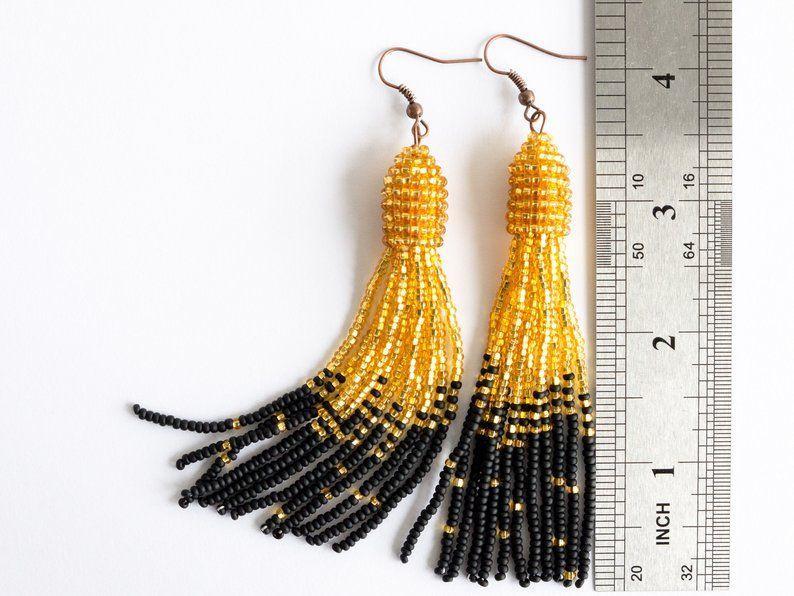Blue Tassel Earrings Oscar de La Renta earrings statement | Etsy