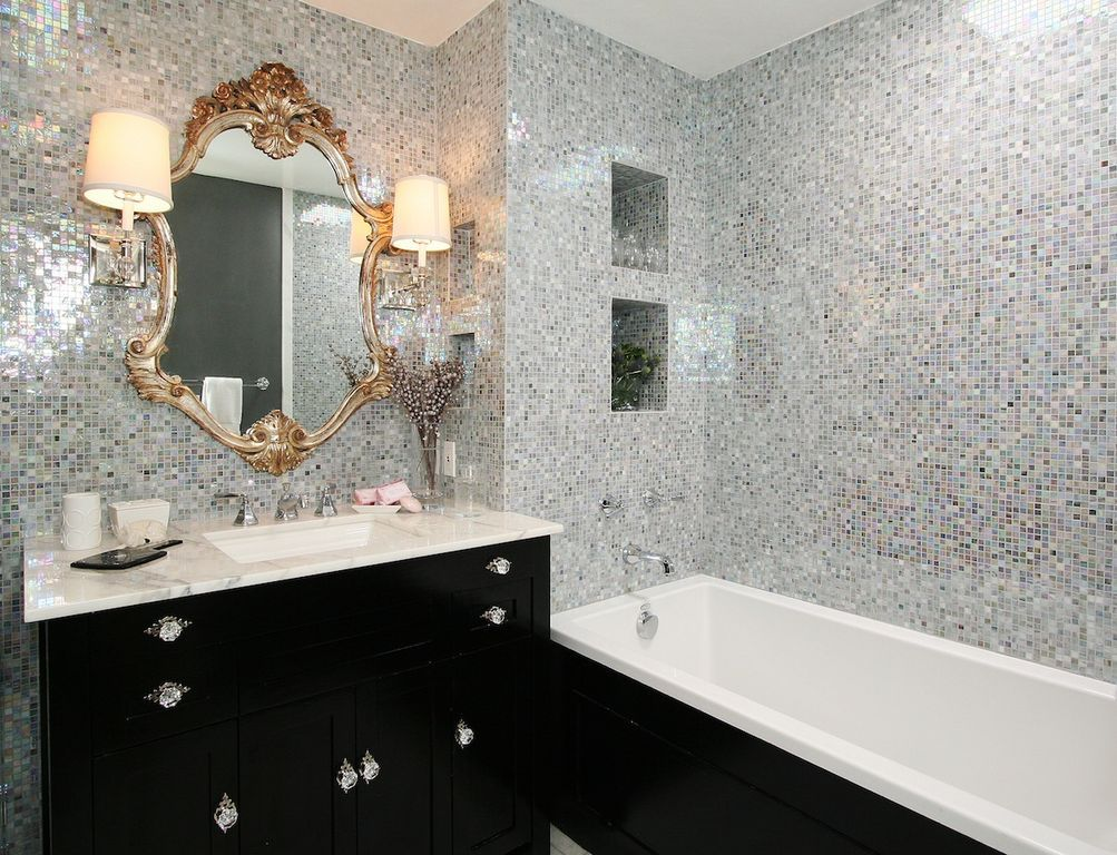 Contemporary 3/4 Bathroom with Drop-In Bathtub, Undermount Sink, Flat panel cabinets, Wall sconce, Complex marble counters