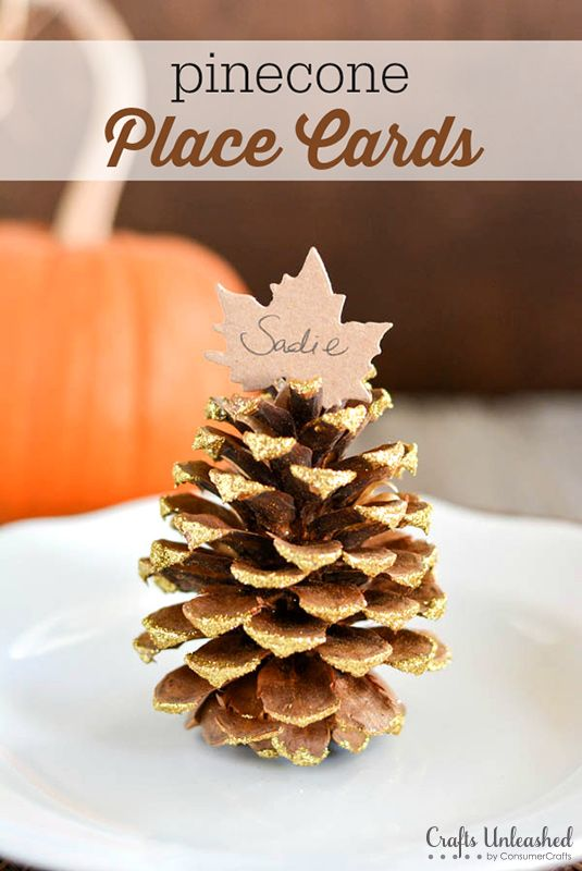 Place card settings diy fall pinecones crafts unleashed for Diy thanksgiving table place cards