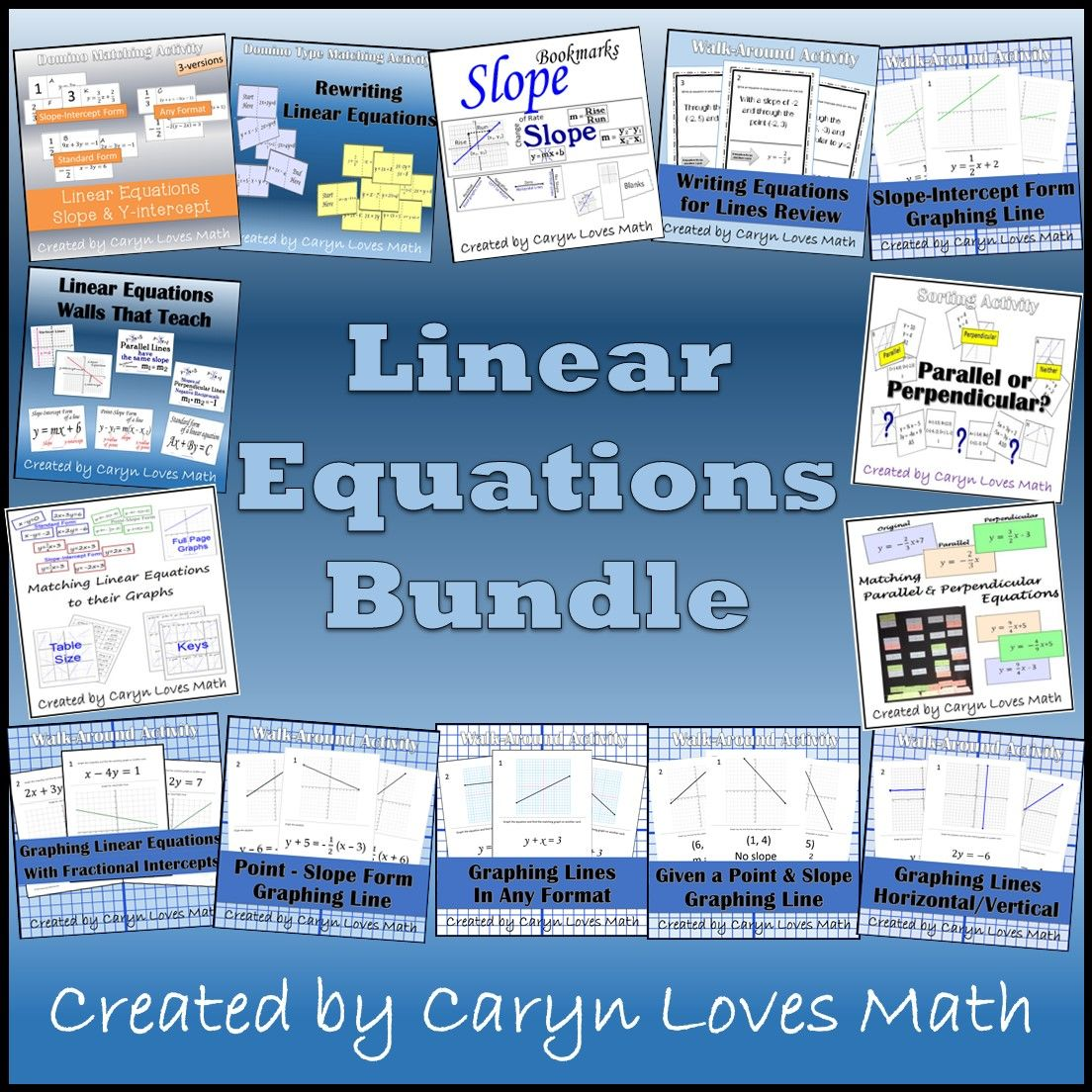 Linear Equations Bundle 15 Activities Amp Walls That Teach