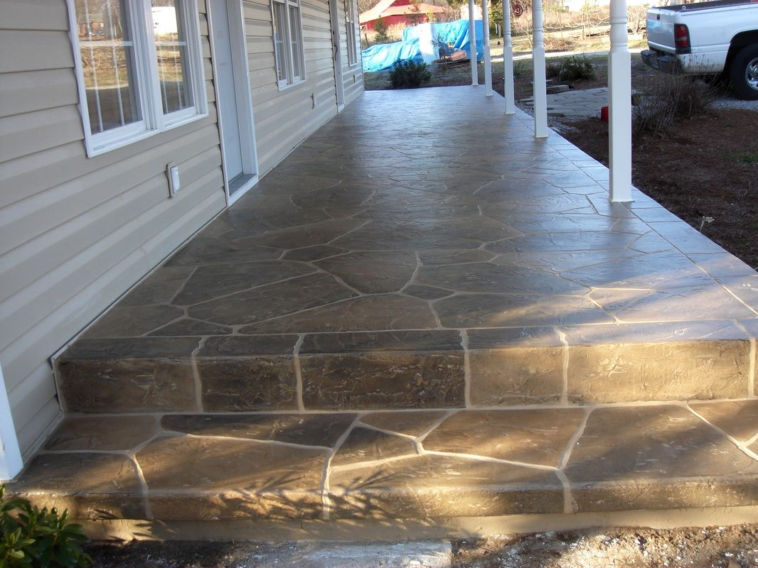 Cement Steps For Front Porch Decorative Resurfaced Concrete Front Porch Steps Stone Design Concrete Porch Porch Makeover Diy Front Porch