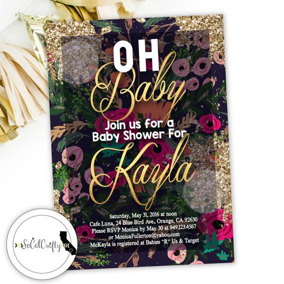 Gold Glitter // Gold Leaf // Gold Paint // Elegant // Glam // Typography // Navy Pink Green Gold Baby Shower Invitation by SoCalCrafty on Etsy. Printed or Printable. $16+
