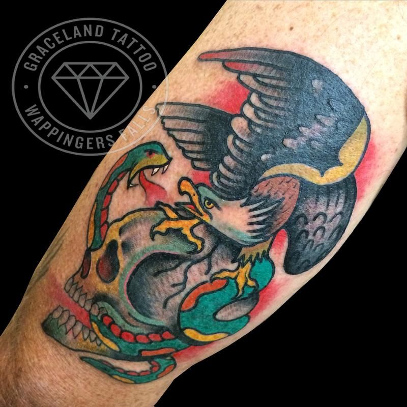 American Traditional Skull And Eagle: Snake Tattoo, Tattoos, Eagle Skull